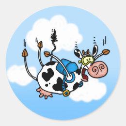 sky diving cow no txt stickers