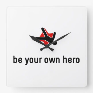 Sky Diving Hero Square Wall Clock