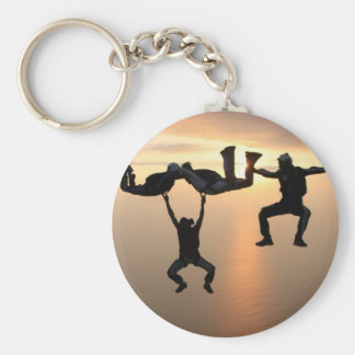 Sky Diving Basic Round Button Keychain