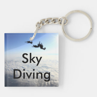 Sky Diving No Back Text Double-Sided Square Acrylic Keychain