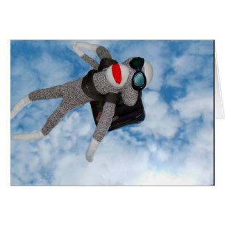 Sky Diving Sock Monkey! Card
