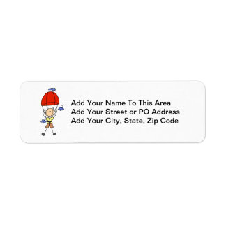 Sky Diving Stick Figure Return Address Label