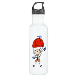Sky Diving Stick Figure Water Bottle