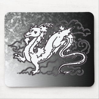 Sky Dragon Black and White Mouse Pad