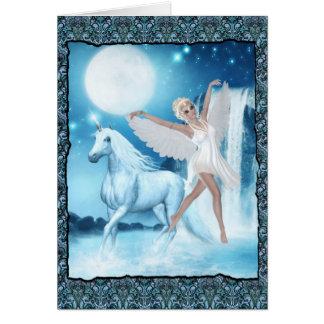 Sky Faerie Asparas and Unicorn Greeting Cards