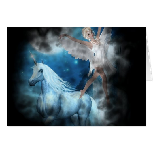 Sky Faerie Asparas and Unicorn Vignette Card