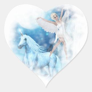 Sky Faerie Asparas and Unicorn Vignette Heart Sticker