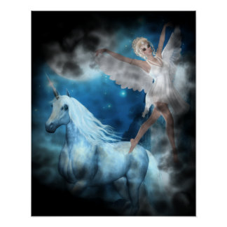 Sky Faerie Asparas and Unicorn Vignette Posters
