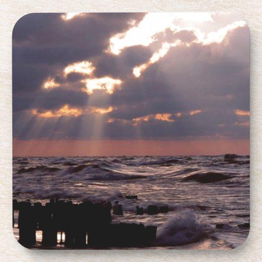 Sky Frantic Waves Lake Michigan Beverage Coasters