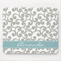 Sky Gray Monogrammed Elements Print Mouse Pad