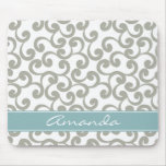 Sky Gray Monogrammed Elements Print Mouse Pads