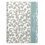 Sky Gray Monogrammed Elements Print Spiral Note Books