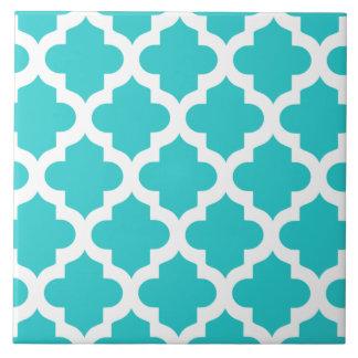 Sky Heaven Blue Quatrefoil Ceramic Tile