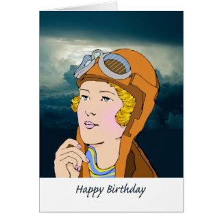 Sky High Birthday for Her, Retro Female Pilot Card