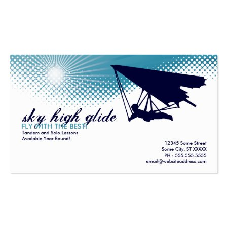 White and Blue Hang Glider Business Calling Cards