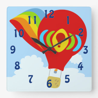Sky High in a Rainbow Balloon Square Wall Clock