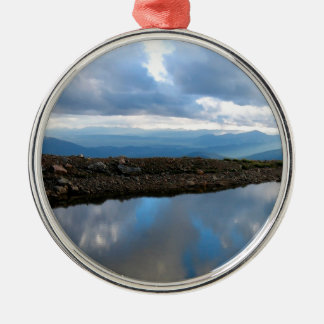 Sky High Reflection Round Metal Christmas Ornament