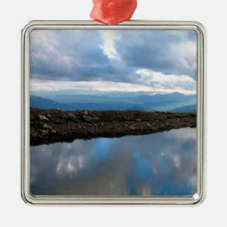 Sky High Reflection Square Metal Christmas Ornament