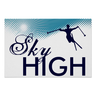 sky high skiing poster