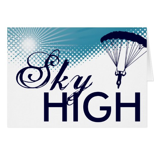 sky high skydiver greeting cards