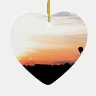 Sky Hot Air Balloon Sunset Ceramic Ornament