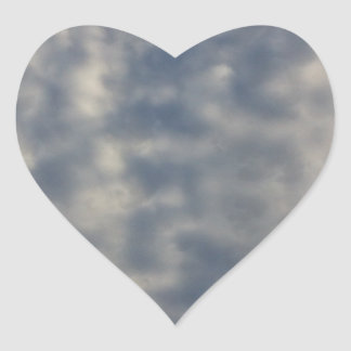 Sky images with ruffled soft clouds heart sticker