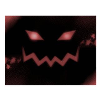 SKY JACK Pumpkin Jack-o-Lantern Face Red Postcard