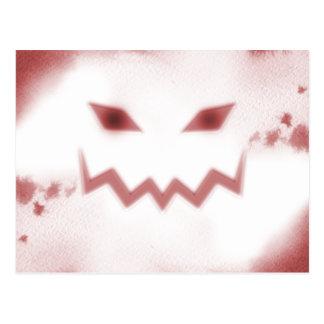 SKY JACK Spooky Jack O Lantern Face Wht Red Postcard