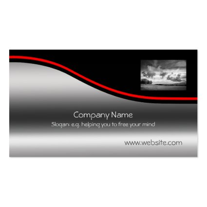 Sky Lamb Clouds, Red Swoosh on metallic-effect Business Card Templates