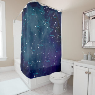 Sky Map Constellations Astronomy Shower Curtain