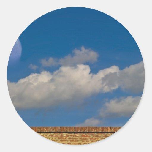 sky, moon, wall classic round sticker