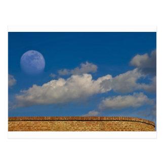 sky, moon, wall post card