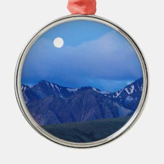 Sky Moonrise Over Alaskan Range Metal Ornament