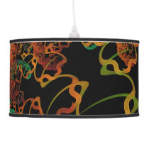 Sky Roots Wildstyle Mural of Autumn Fractal Trees Hanging Lamp