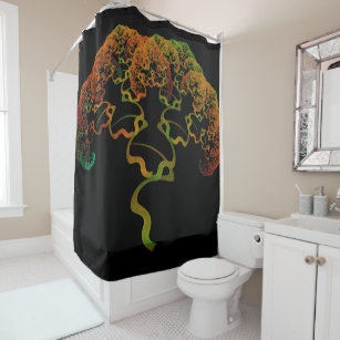 Sky Roots Wildstyle Mural Of Autumn Fractal Trees Shower Curtain
