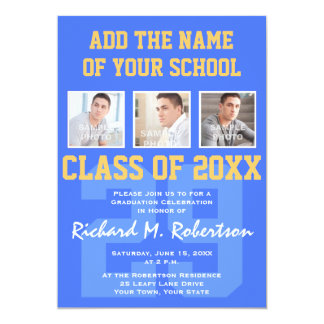 Sky Royal Blue and Gold Athlete's Graduation 5x7 Paper Invitation Card