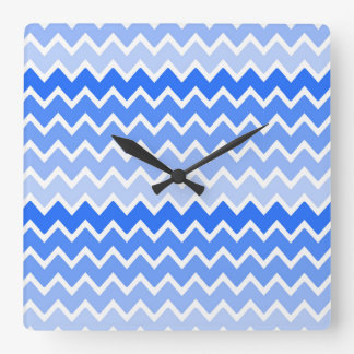 Sky Royal Blue Ombre Chevron Zigzag Pattern Square Wall Clock
