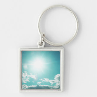 Sky Silver-Colored Square Keychain