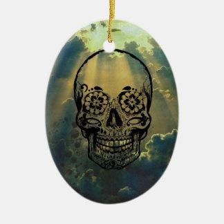 Sky & Skull Ceramic Ornament