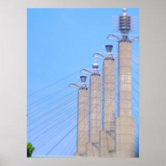 Sky Stations Pylon Caps Downtown Kansas City Poster