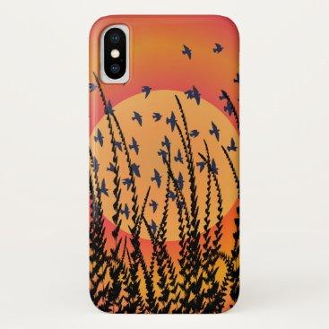 Sky, Sun & Birds (orange) iPhone XS Case