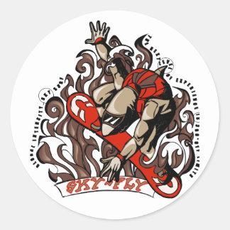 Sky Surfing Shark Classic Round Sticker