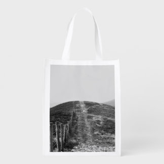 Sky Themed, A Black And White Picture Of A Hill Se Reusable Grocery Bag