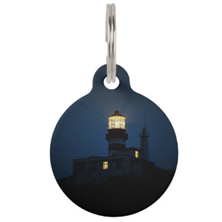 Sky Themed, An Illuminated Light Tower Located Beh Pet Name Tag