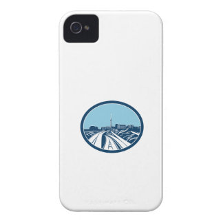 Sky Tower Auckland Woodcut Retro iPhone 4 Cases