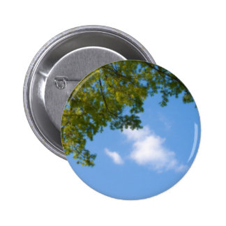 sky view with tree top pinback button