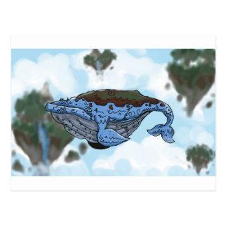 sky whale postcard