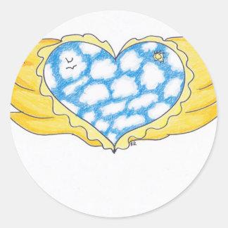 SKY WINGED HEART by Ruth I. Rubin Round Sticker