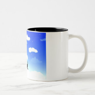 sky with birds image on cup