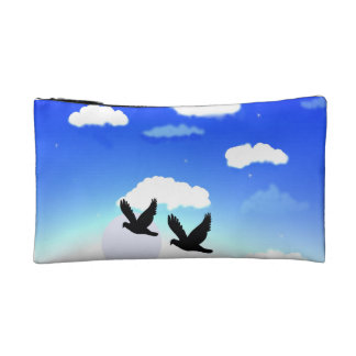 sky with birds image on ladies parse makeup bag